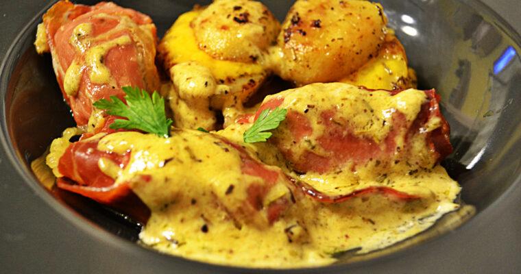 Roladki wieprzowe z sosem śmietanowo-musztardowym