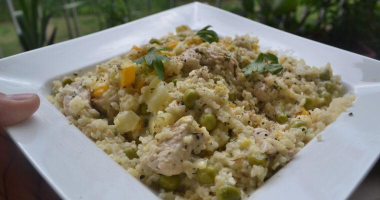 Kremowe risotto z kurczakiem i warzywami