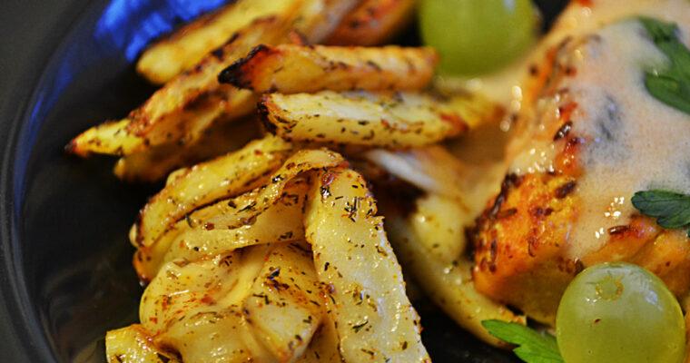Łosoś satay z pistacjowym sosem