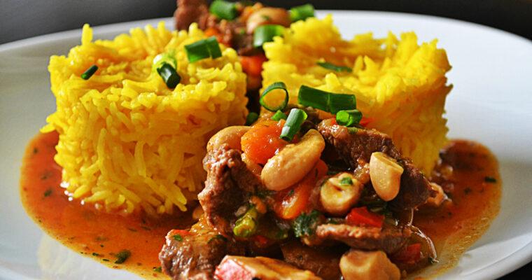 Duszona ligawa po wietnamsku z ryżem curry